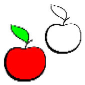 Pixelated red black and white apple