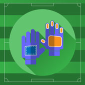 Soccer Goalkeeper Blue Gloves icon on the Game Field backdrop Outdoor Sports digital background vector illustration