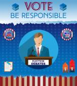 Election Day 2016 Campaign Ad Flyer Be Responsible Social Promotion Banner Elephant versus Donkey American Flag's Symbolic Elements - Red Stripes and White Stars Digital vector illustration