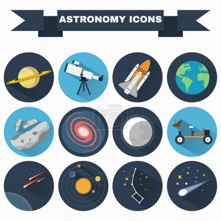 Illustration for Astronomy Flat Vector Icons Set. Science objects for infographics, flyers, banners, brochures, books or booklets. Digital Illustrations on a space theme. Universe, galaxies and stars. - Royalty Free Image