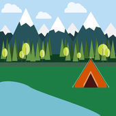 Camping in Mountains Orange Tent surrounded by Wild Nature: Mountains Trees Lake and Clear Skies Digital background flat vector illustration