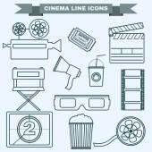 Cinema black and white icon set