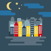 Cityscape with Buildings Skyscrapers Starry Sky with Half Moon at Night Digital background flat vector illustration
