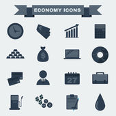 Economy icon set Black and white Business icons Digital background vector illustration