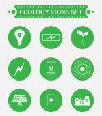 Ecology logo isolated on green round buttons Digital background vector icon set