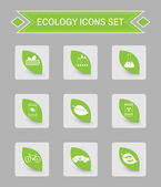 Green ecology logo isolated on gray square buttons Digital background vector icon set