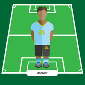 Football Soccer Player silhouette isolated on the play field Computer game Uruguay Football club player Digital background vector illustration