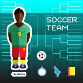 Soccer Team - Cameroon Football Players Scoreboard Vector digital illustration Soccer tournament sheet Visual graphic presentation