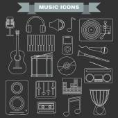 Music Instruments and Gadgets Big icon set Microphone Headphones Tape Player Clarinet Guitar Drums Electric Piano Cd disk Equalizer Loudspeakers Djembe Digital vector illustration