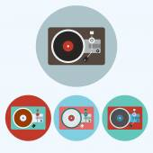 Record Player icon set Colorful Lp Players round icons isolated on white Digital background vector illustration