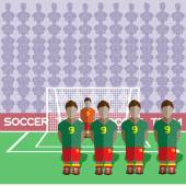 Ghana Football Club Soccer Players Silhouettes Computer game Soccer team players big set Sports infographic Football Teams in Flat Style Goalkeeper Standing in a Goal Vector illustration
