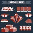 Постер, плакат: Big colorful icon set of sushi