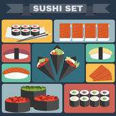 Big icon set of sushi Different sushi types platter with chopsticks Sushi Rolls Salmon Tuna Sushi Cones in Nori Sheets with Caviar Avocado filling Colorful background vector illustration