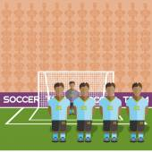 Uruguay Football Club Soccer Players Silhouettes Computer game Soccer team players big set Sports infographic Football Teams in Flat Style Goalkeeper Standing in a Goal Vector illustration