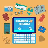 Travel planning summer holiday icon set