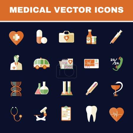 Illustration pour Soins de santé. Ensemble d'icônes vectorielles médicales colorées. Illustration vectorielle de fond numérique . - image libre de droit