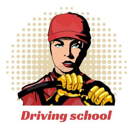 Illustration pour École de conduite belle fille dans la voiture illustration vectorielle pop art - image libre de droit