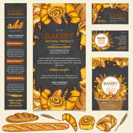 Illustration pour Produits de boulangerie menu page modèle carte de visite illustration vectorielle - image libre de droit