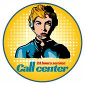 Call center woman operator pop art vector illustration
