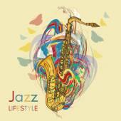 Jazzový životní styl saxofon hraje hudební pozadí