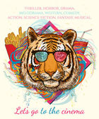 Portrait of hipster tiger Movies and cinema