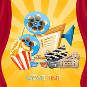 Movie time cinema old projector tickets pop corn