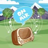 Retro old radio on air cartoon vector