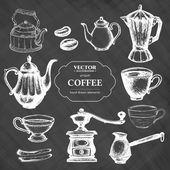 Káva kolekce tabuli stylu vektorové ilustrace