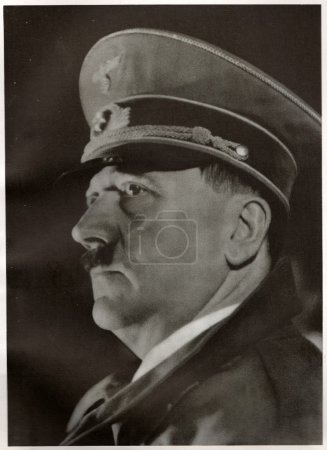 Hitler declares Germany and Austria (Ostmark) united as one entity, the beginning of the Greater German Empire. Emotional speech from the balcony of the Linz town hall. Reproduction of antique photo.