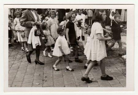 Religious celebration in Hodonin (the Czech Republic). The forties. Catholic celebration. Vintage photo.
