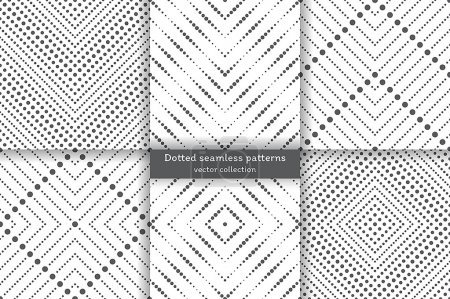 Illustration for Set of dotted seamless patterns. Abstract lace background. Modern small dotted texture with regularly repeating geometrical shapes, small dots, dotted rhombus, diamond, zigzags. - Royalty Free Image