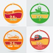 Auto service emblem Tow truck emblem Wrecker icon Auto charging station emblem Fast delivery icon Design can be used as a logo a poster advertising singboard Vector element of graphic design