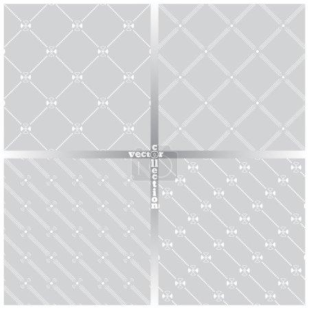 Illustration pour Modèle sans couture. Ensemble de quatre textures classiques originales. Répéter régulièrement des éléments géométriques, des formes, des points, des lignes pointillées, des zigzags, des losanges, des arcs, des cercles. En toile de fond. Le Web. Élément vectoriel de la conception graphique - image libre de droit