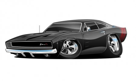 Illustration for Classic American Muscle Car Hot Rod Cartoon, lots of chrome, aggressive stance, low profile, big tires and rims. Hand-drawn and Illustrated by Jeff Hobrath. - Royalty Free Image