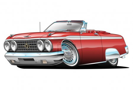 Classic American Red Convertible Muscle Car Cartoon