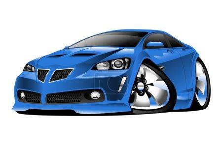 Modern American Blue Muscle Car Cartoon Illustration