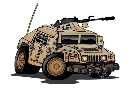 Illustration pour Caricature militaire Humvee en peinture désertique avec mitrailleuse montée, gros pneus et position agressive. Dessiné à la main et illustré par Jeff Hobrath . - image libre de droit