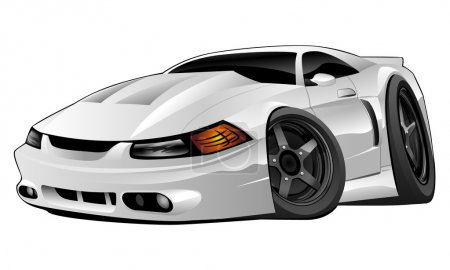 Illustration for Hot modern American muscle car cartoon. white, black rims, aggressive stance, low profile, big tires and rims. Hand-drawn and Illustrated by Jeff Hobrath. - Royalty Free Image