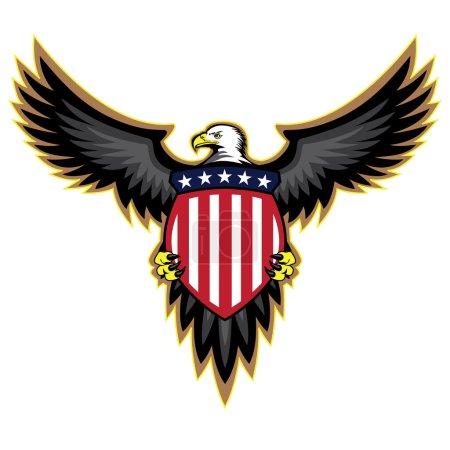 Patriotic American Eagle, Wings Spread, Holding Shield