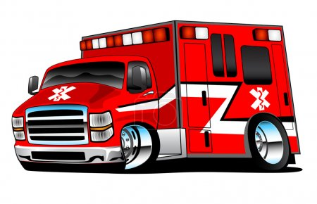 Illustration for Red paramedic ambulance, bold colors, big rims, lots of chrome and fast. - Royalty Free Image