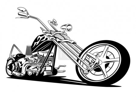 Illustration for Hot custom American chopper motorcycle, with classic long springer front forks, huge V twin engine, lots of chrome, black with vintage flame paint job, big rims and tires, long low stance. - Royalty Free Image
