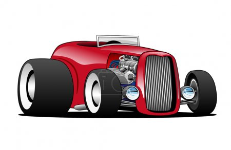 Illustration for Hot American vintage hot rod hiboy roadster car cartoon. Red, cool stance, low profile, big tires on vintage rims. Very sharp, clean lines, a crisp illustration. - Royalty Free Image