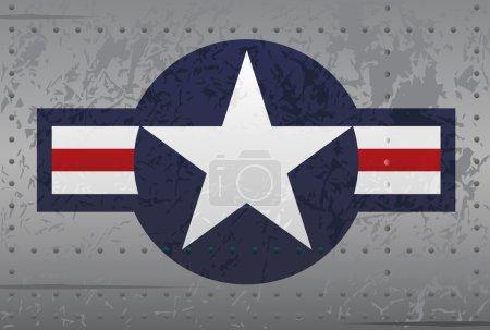 US Military Aircraft Star Logo Insignia Distressed Illustration