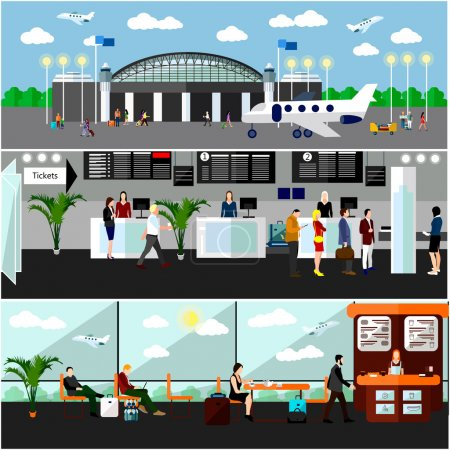 Airport terminal concept vector illustration. Air ticket office, check-in counters and waiting area