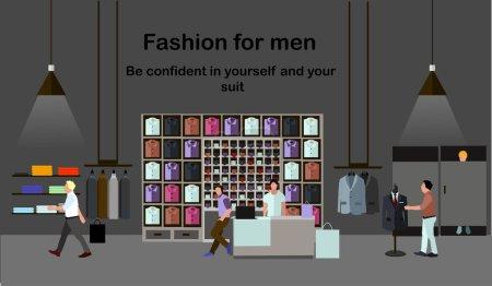 Illustration pour Concept de mode homme. Des gens qui font du shopping dans un centre commercial. Magasin de vêtements Intérieur. Illustration vectorielle colorée. Bannière dans un style plat - image libre de droit