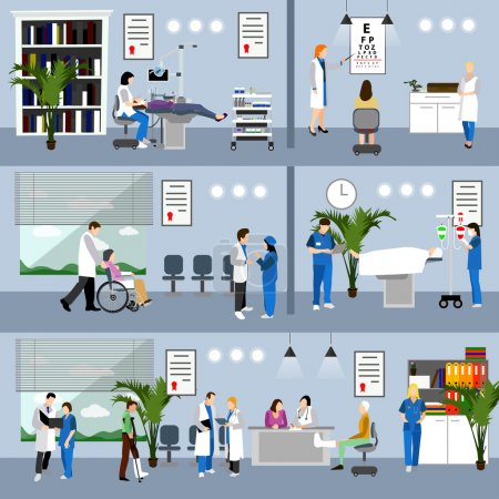 Horizontal vector banners with doctors and hospital interiors. Medicine concept. Patients passing medical check up, surgery operation room