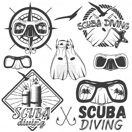 Vector set of scuba diving center labels in vintage style. Sport underwater equipment, mask, fins, tanks isolated on white background.
