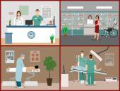 Vector banners set with patients doctors and hospital interiors Health care medicine concept Flat cartoon illustration