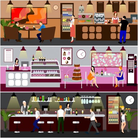 Cafe interior vector illustration. Design of coffee shop, bakery, restaurant and bar. People in cafe cartoon flat style.