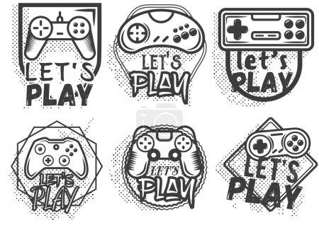 Vektor-Set von Videospiel-Steuerknüppel im Vintage-Stil. Spielkonzept.